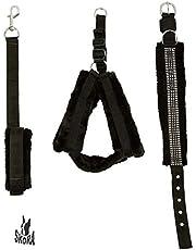 Skora Nylon Fur Large Dog Harness, Collar and Leash (Black, Chest Size: 28-34 Inch)