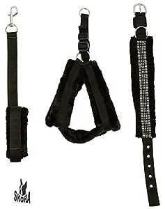 Skora Nylon Black fur 1.25 Inch Large Dog Harness, Dog Collar & Leash (Chest Size : 25-28 inch)
