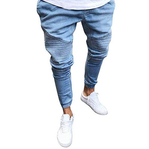 Kobay Pantaloni Elastico Slim Fit Denim Uomo Casual diritte Lunghe Pantaloni Skinny Jeans(Blu,Small)