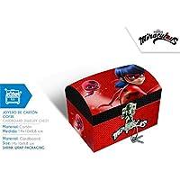 Miraculous Boite à Bijoux Coffre Ladybug Rectangle + Un Set Bracelet avec pamplilles à Personnaliser