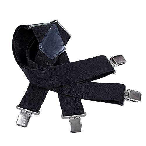 Männer Hochzeit Band (Herren Hosenträger 5cm Breite X - Elastisch und Längenverstellbar in Verschiedenen Designs (Schwarz))