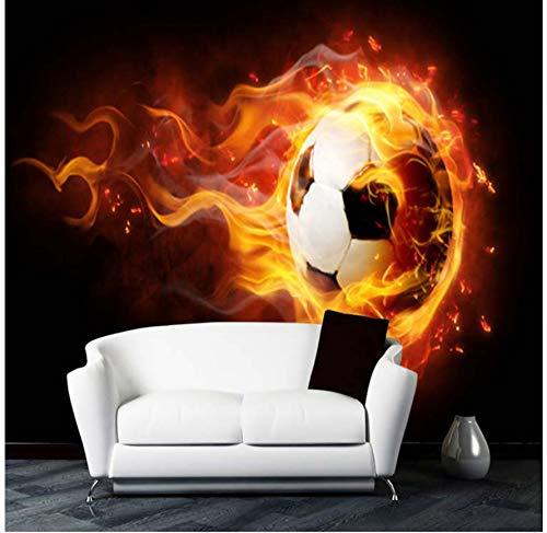 YFXGSTLI Fototapete Wandtapete Wandbild Fototapete Große Wandbild 3D Stereo Fußball Feuer Wandbild Ktv Bar Cafe Wohnzimmer Wand Papierrolle Benutzerdefinierte Größe -