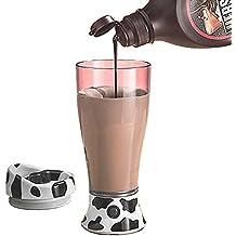 GossipBoy Proteine Shaker Elettrico 400ml - Carino e portatile Magro Moo che mescola tazza cioccolato al latte Mixer caffè succo Mixer Bottiglia miscelatore Batteria Elettrico