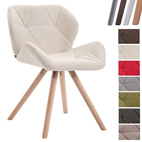 Clp sedia design rétro tyler in tessuto - poltroncina deco gambe tonde e telaio in legno di faggio i sedia visitatore con schienale i portata max 125 kg crema natura