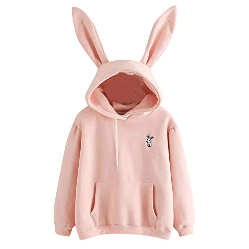 Oudan Mode Winter Herbst Hoodie Jumper Womens Casual Langarm Sweatshirt Kapuzen Damen Pullover mit Hasenohren (Farbe : Rosa, Größe : M)