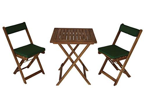 Balkonset Kreta aus Akazienholz 3-teilig, mit Auflage grün, Tisch 60x60