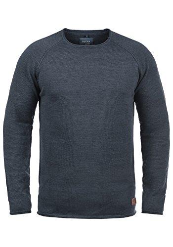 Blend John Herren Strickpullover Feinstrick Pullover Mit Rundhals Und Melierung Aus 100% Baumwolle, Größe:L, Farbe:Navy (70230) Blend Herren Sweatshirt