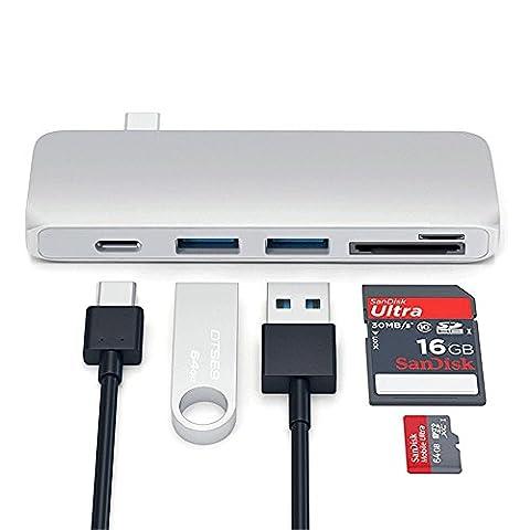 lecteur USB de type C 5en 1hub avec Pass-Through chargement pour 30,5cm MacBook, Chromebook Pixel & USB-C sonorité Argent, Or Rose, Or foncé,