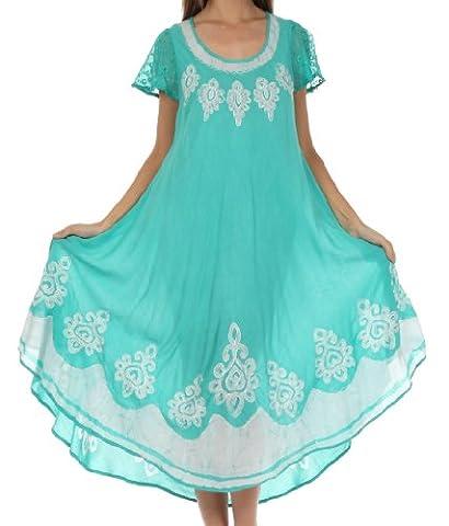 Sakkas B009 Batik Hindi Cap Sleeve Kaftan Kleid / Cover Up - Mint - One Size