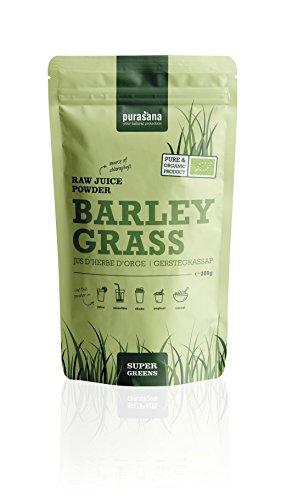 Purasana Bio Gerstengras Saftpulver 200g, vegan zertifizierte Spitzenqualität ohne Zusatzstoffe - Entschlacken, entgiften, abnehmen oder als Basenpulver, 100% löslich -