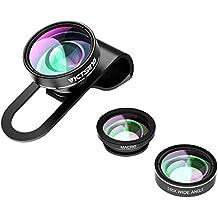 Neu VicTsing 3 in 1 Clip On Fisheye Fischauge Objektiv Kamera Adapter (180 Grad Fisheye Objektiv, 0.65X Weitwinkelobjektiv, 10X Makroobjektiv)