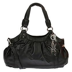 Kossberg Damen Henkeltasche Handtasche Schultertasche Bag Modell Alien (Schwarz)