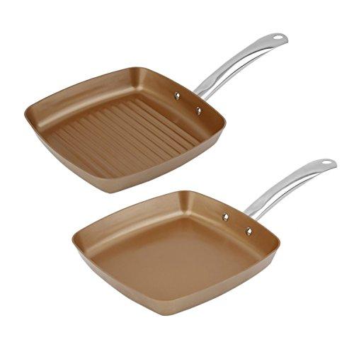 2 unids Cobre Revestimiento inferior Sartenes antiadherente Cuadrado Parrilla Pan Conjunto de utensilios de Cocina Multifuncional Cocina Herramientas de Cocina