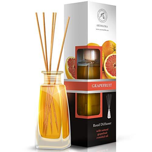 Diffusore di profumo per ambiente pompelmo 100ml - con 8 bastoncini di bambù - olio essenziale naturale - fragranze naturali intenso e duraturo - alcool 0% - diffusori a lamella da aromatika