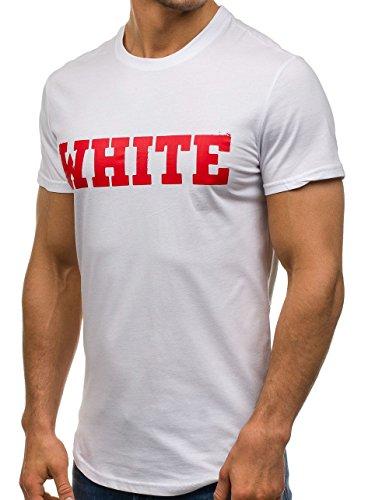 BOLF Herren T-Shirt Tee Kurzarm Rundhals Classic Aufdruck Print Motiv MIX Weiß_S079