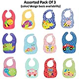 Kassy Pop Waterproof Plastic Bib, Soft Fabric, REUSABLE, UNISEX, FREE SIZE Wi Comfort-Fit Velcro Closure, BPA Free, Best Gifting Option For Baby Showers, Baby Registry For Baby Boys & Baby Girls,Pack Of 3