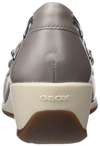Geox Arethea A, Mocassini Donna Grigio (Lt Grey/off White)
