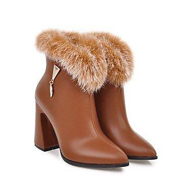 Rtry Femmes Chaussures Similicuir Mode Hiver Bottes Bottes Chunky Talon Toe Booties / Bottines Pour Vêtements De Sport Rouge Jaune Noir Beige Us5 / Eu35 / Uk3 / Cn34