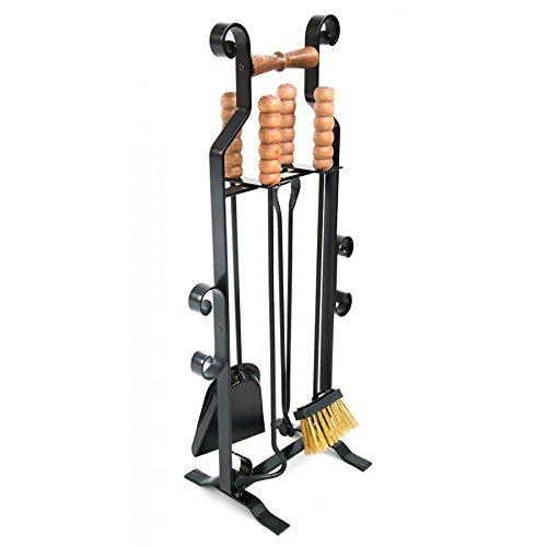 Juego de accesorios para chimenea en soporte hierro con tiradores de madera...