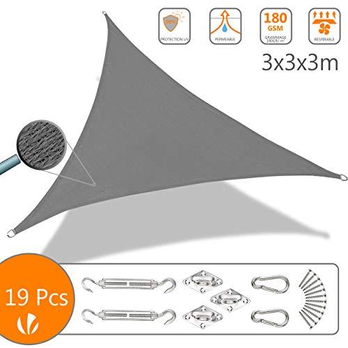Voile d'ombrage Triangle avec Le Kit de Fixation | Matière résistante aéré 100% Nouveau HDPE-180g/m2 | Bloque 90% Rayons UV | Kit de Montage Inclus |Taille 3x3x3M Gris