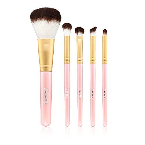 Kit de Pinceau maquillage Professionnel 10 PCS Ombre à Paupière Doré Blush Fondation Pinceau Poudre Fond de teint Anti-cerne Kit Pinceaux avec sac (5 Pcs Pink)
