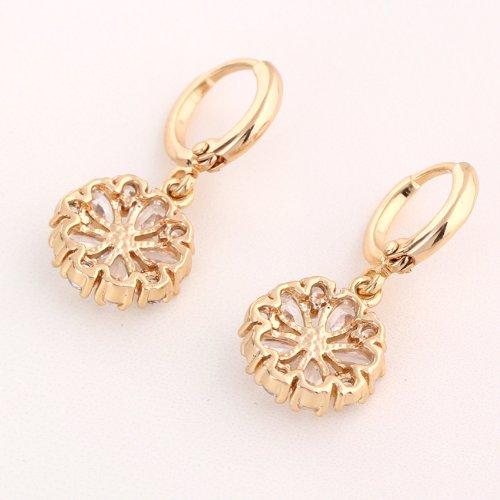 Yazilind Schmuck Charming Flower Design Gold Filled Inlay Glänzende Clear Crystal baumeln Ohrringe für Frauen