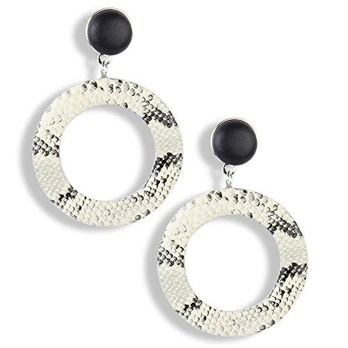 ZEHY Ohrringe Damenmode Joker Earrings Geometric Round Cutout Earrings, Weiß (Cutouts Halloween Weiß Schwarz Und)