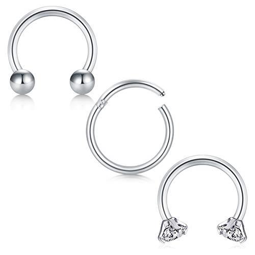 Modrsa 16g acciaio chirurgico septum piercing naso anello cerchio helix cartilagine trago orecchio piercing retainer 8-12mm 3 pezzi - argento