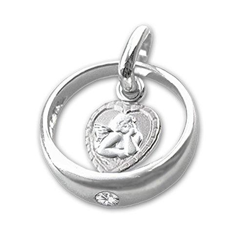 CLEVER SCHMUCK Set Silberner Taufring Ø 12 mm mit Einem Zirkonia weiß innen Engel herzförmig und Kette Venezia 38 cm Sterling Silber 925 - 2