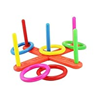 Aeromdale Hoop Ring Toss Plastic Quoits Garden Game Pool Toy Outdoor Family Kids Fun Set Party Props
