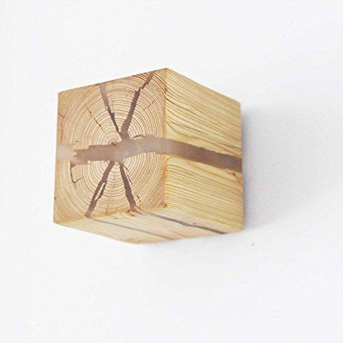 Log-Crack-Wandleuchte massivem Holz Nachttischlampe Innenbeleuchtung dekorative Nachtlicht Holz Wandleuchte, Kiefer Blätter fallen Holz, Aprikose Holz (zufällige Risse) (Kiefer-kuchen)