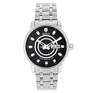 BUREI S-15020M Automatic Mechanical Steel Men's Wristwatch - Sapphire Crystal   Black Dial - Silver Strap
