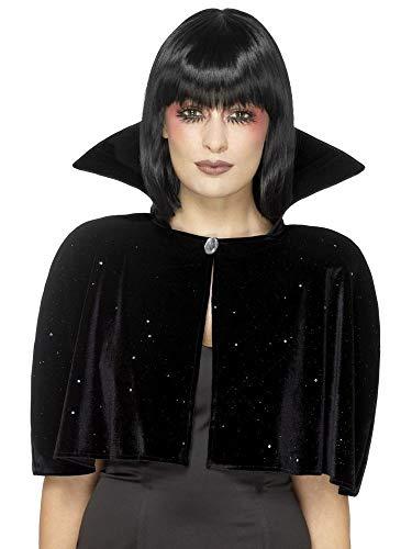 shoperama Kurzes SAMT Cape Hoher Kragen Böse Königin Vampirin Umhang Halloween Märchen Kostüm-Zubehör Accessoire