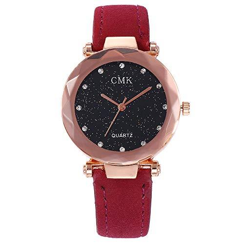 gaddrt Uhren, CMK Frauen Casual Quarz Leder Band Sternenhimmel Uhr Analog Armbanduhr (B)