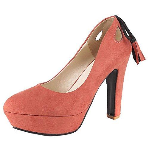 Senhoras Coolcept Sapatos Da Moda Vestido Rosa Partido Bombas Bloco Planalto Salto Franjas