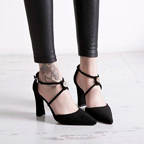 GTVERNH-le scarpe nere una perla della spessa con scarpe con tacchi alti le scarpe sono superficiale bocca,37 Thirty-six