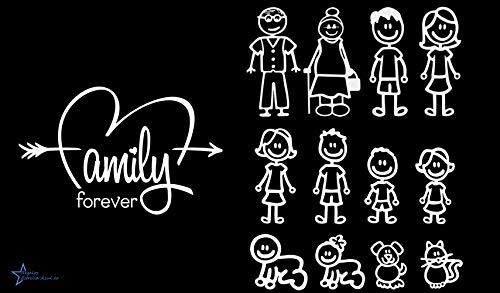 REGALOS ESTRELLA AZUL Pegatinas Coche Familia a Bordo Paquete de 13 Calcamonías Stickers para Coche (Blanco)