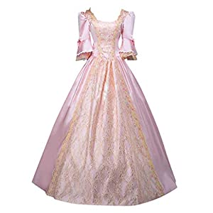 Dasongff Damen Langarm Renaissance Mittelalter Kleid Viktorianischen Königin Kostüm Maxikleid Rokoko Kleid Gothic Lolita Kostüm Festlich Cosplay Prinzessin Spitze Dress