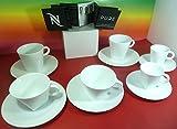 Nespresso Pure Collection 6weiß Porzellan Tassen mit 6Untertassen, (2Cappuccino-Tassen, 2Lungo-Tassen, 2Espresso Tassen) Wonderful, Big Game Design, in Marke Luxus-Geschenk-Boxen, NEU.