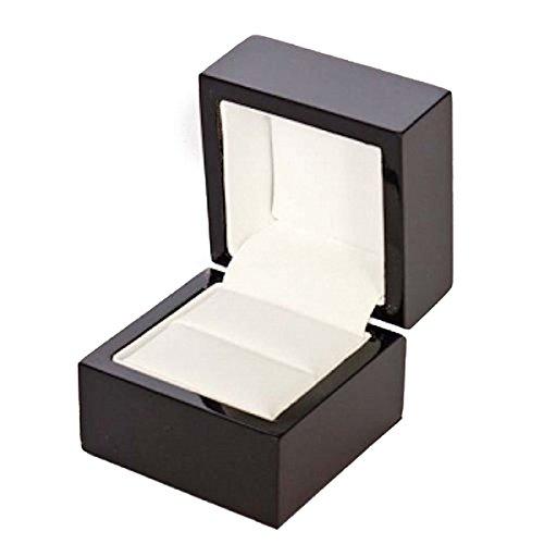 Pixnor Schmuck Geschenk-Box Luxus Hochglanz Holz Ring Box Case (schwarz) (Ring Storage-schmuck-box)