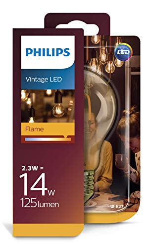 Philips LEDclassic Lampe Gold, Vintage Retro-Design ersetzt 14W, E27, Flame (2000 Kelvin), 125 Lumen, Dekolampe -