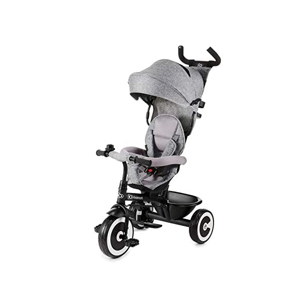 Kinderkraft Aston KKRASTOGRY0000 Tricycle with Accessories in 3 Colours Grey kk KinderKraft Five point safety straps for the shoulders and an additional strap between the legs to protect the child from falling out A mechanism that connects the parent handlebar with the child's handlebar so that parents can have full control over the bike guidance when required. Free-wheel that causes the child to rmble freely regardless of the person who leads the bike 1