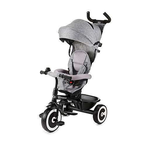 Kinderkraft ASTON Tricycle Enfant Évolutif, Canne Télescopique Amovible, Gris