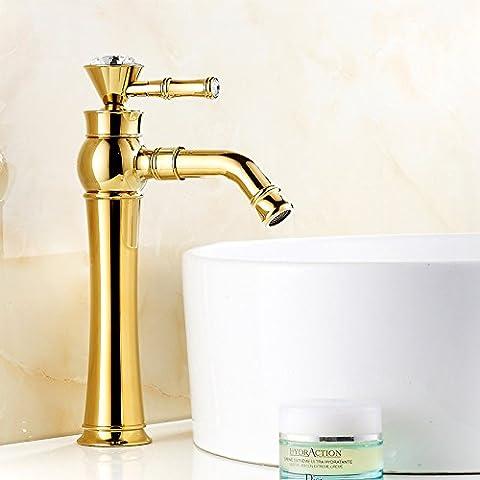 furesnts Maison moderne Cuisine et Salle de Bain Évier robinets la copper-colored Mitigeur lavabo robinets Crystal- en verre Mitigeur pour lavabo en céramique (Tuyau G 1/2universel standard ports)
