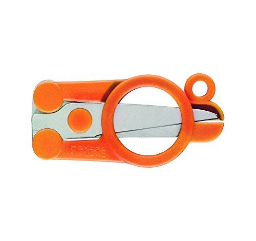Fiskars Klappbare Schere, Länge 11 cm, Für Rechts- und Linkshänder, Rostfreie Stahl-Klinge/Kunststoff-Griffe, Orange, Classic, 1005134 (Kleine Schere)