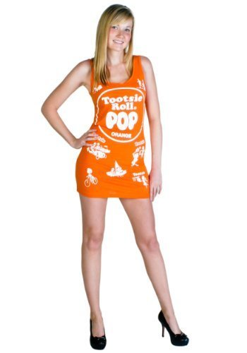Tootsie Roll Pop Candy Orange Kostüm Tank Kleid (Kinder - Tootsie Roll Pop Kostüm