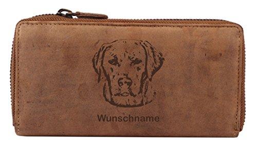 Greenburry Damen-Geldbörse PERSONALISIERT mit Hunde-Motiv Labrador Retriever, Leder Damengeldbeutel -