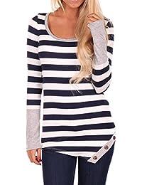 Mujeres blusa camiseta ropa, RETUROM Nuevo estilo de las mujeres de moda rayas costura camisa