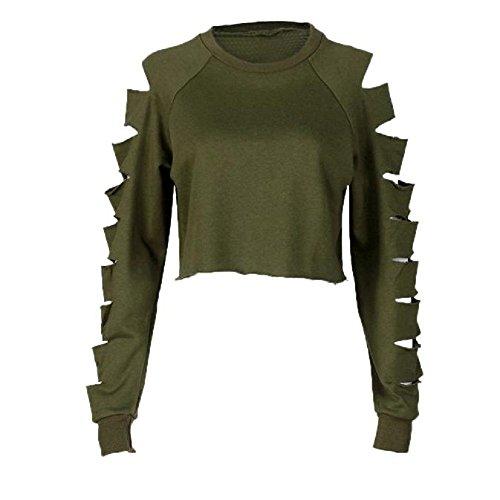 Zolimx Frauen Langarm Hohle Loch Bluse Sweater (S, Armygrün)