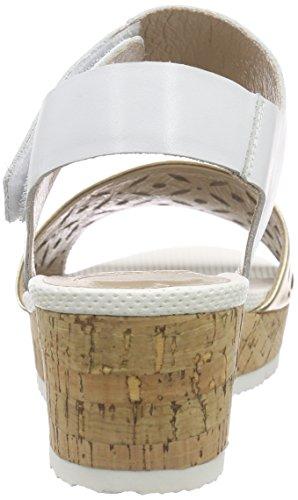 SPMLexus Sandal - Sandali con tacco e cinturino alla caviglia Donna Multicolore (Mehrfarbig (White 011/Gold))